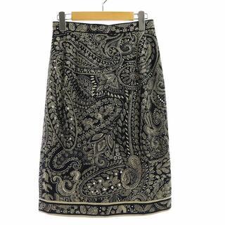 レオナール(LEONARD)のレオナール FASHION スカート シルク 66-92 L 黒 ベージュ(ひざ丈スカート)
