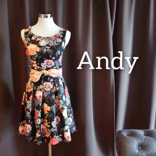 アンディ(Andy)のJ2071 新品 Andy ワンピース S ブラック×オレンジ 花柄 フレア(ミニワンピース)