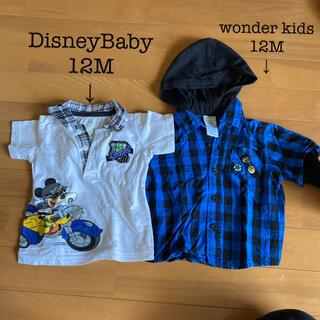 ディズニー(Disney)のTシャツ/フード付きシャツ セット 男の子 サイズ:12M(シャツ/カットソー)