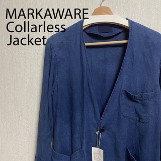 マーカウェア(MARKAWEAR)のマーカウェア ノーカラージャケット タグ付き インディゴ markaware(ノーカラージャケット)