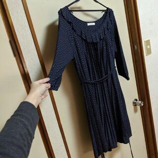 ショコラフィネローブ(chocol raffine robe)のドット ネイビー ワンピース おしゃれ(ひざ丈ワンピース)