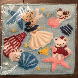 familiar - ファミリア  ハンカチ タオルハンカチ 水色 ブルー 貝殻 シェニール織