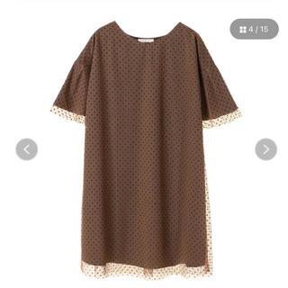 ショコラフィネローブ(chocol raffine robe)のグリーンパークス ドットチュール七分袖ワンピース チュニック(ひざ丈ワンピース)