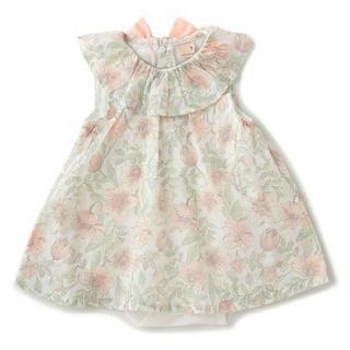 petit main - 花柄フリル衿ワンピースロンパース70 ライト ピンク