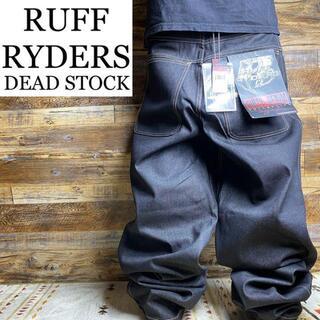 ラフライダーズ(RUFF RYDERS)の美品ラフライダーズw34ブラックジーンズデニムバギーパンツ刺繍黒ジーパン太い(デニム/ジーンズ)