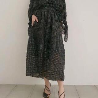 ルシェルブルー(LE CIEL BLEU)のIRENE アイレネ ドットスカート 黒(ロングスカート)