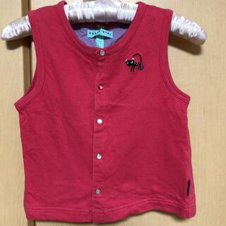 ハッカキッズ(hakka kids)のハッカキッズ コットンベスト ねこ刺繍 ピンク 110(ジャケット/上着)