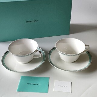 Tiffany & Co. - TIFFANY&CO. プラチナブルーバンド カップ&ソーサー ペアセット