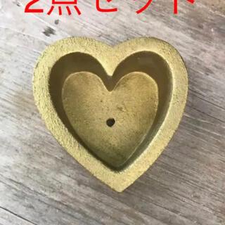 かわいいハート型  ゴールドセメント鉢2点セット(プランター)