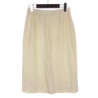 クリスチャンディオール(Christian Dior)のクリスチャンディオール ひざ丈 スカート リネン ホワイト L(ひざ丈スカート)