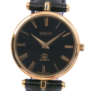 Gucci - グッチ SS レザー ゴールド クオーツ メンズ 黒 腕時計