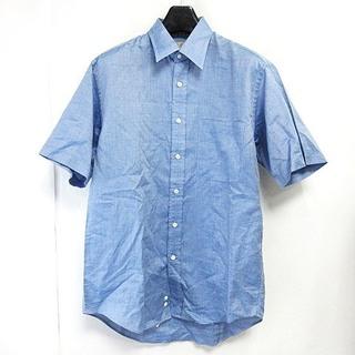 アクアスキュータム(AQUA SCUTUM)のアクアスキュータム シャツ 半袖 シャンブレー 無地 ブルー 青 S 0905(シャツ)
