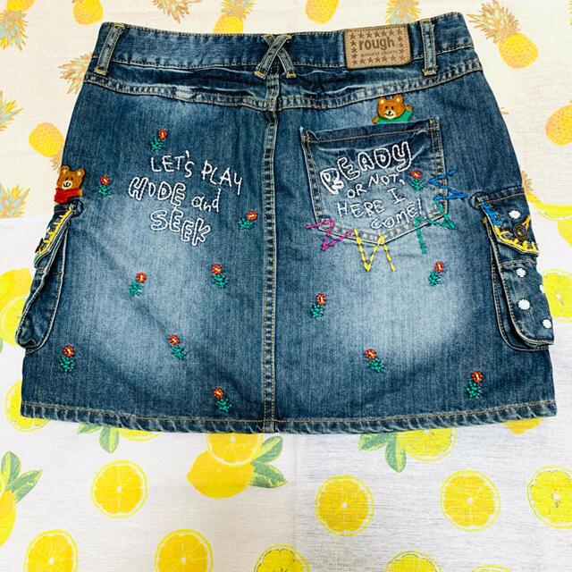 rough(ラフ)のrough ラフ スカート クマ デニム レディースのスカート(ミニスカート)の商品写真