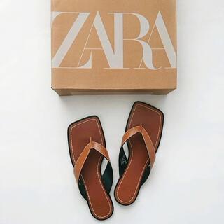 ZARA - ZARA     トップステッチスクエアトゥフラットサンダル