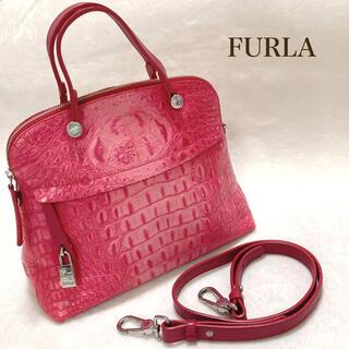 Furla - FURLA フルラ パイパー ハンド バック2way クロコ型押し M