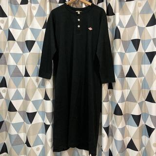 ダントン(DANTON)のdanton ヘンリーネック ノーカラーシャツ ロングワンピース 黒色 ブラック(ロングワンピース/マキシワンピース)