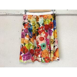 ポールスミス(Paul Smith)のK547★新品同様 ポールスミス 総シルク スカート 花柄フラワー40(L)(ひざ丈スカート)