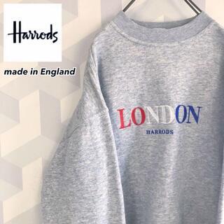 Harrods - 【90s UK製】希少 L ハロッズ刺繍ロゴスウェットトレーナーロンドングレー