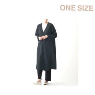ムジルシリョウヒン(MUJI (無印良品))の〓新品〓 無印良品  ダブルガーゼ羽織り/ONESIZE/黒(ロングコート)