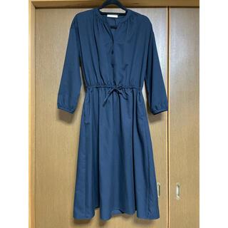 ショコラフィネローブ(chocol raffine robe)の【chocol raffine robe】長袖ワンピース ネイビー 長袖 膝下丈(ひざ丈ワンピース)