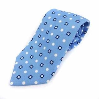 ルイジボレッリ(LUIGI BORRELLI)のルイジボレッリ ネクタイ レギュラータイ 総柄 絹 シルク 水色 白(ネクタイ)