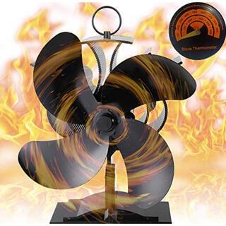 ストーブファン 温度計付き 火力熱炉ファン 静音 空気循環 秋冬キャンプ用