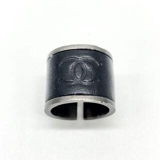 CHANEL - 【入手困難】シャネル リング 指輪 レザー 黒 ガンメタリック 約11号 Q24