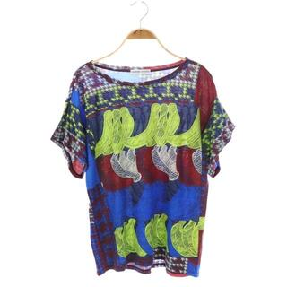 ツモリチサト(TSUMORI CHISATO)のツモリチサト Tシャツ カットソー 半袖 総柄 2 青(Tシャツ(半袖/袖なし))