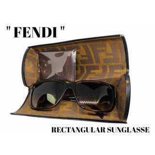 フェンディ(FENDI)のFENDI フェンディ レクタンギュラーサングラス・メガネ べっ甲 箱付き(サングラス/メガネ)