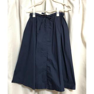 ムジルシリョウヒン(MUJI (無印良品))の無印良品 フレアスカート ネイビー 着丈約65センチ(ロングスカート)