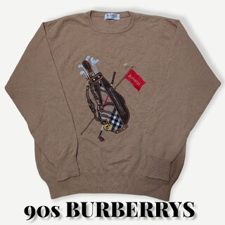 バーバリー(BURBERRY)の90s BURBERRYSカシミア30%刺繍ニットセーターバーバリーズL古着(ニット/セーター)