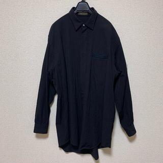 Yohji Yamamoto - Y's for men 02aw ウールギャバ 比翼 ロング シャツ ブラック