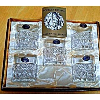 ボヘミア クリスタル(BOHEMIA Cristal)の【大特価!/ボヘミアクリスタル】昭和レトロ!ロックグラス『5個組』(グラス/カップ)