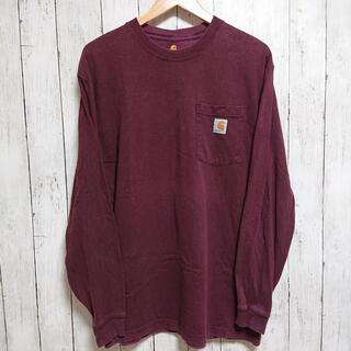 カーハート(carhartt)のカーハート ロングTシャツ メンズ えんじ色 ワンポイントロゴ(Tシャツ/カットソー(七分/長袖))