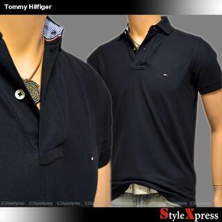 トミーヒルフィガー(TOMMY HILFIGER)の新品 トミーヒルフィガー 黒 XS ポロシャツ レギュラーFIT(ポロシャツ)