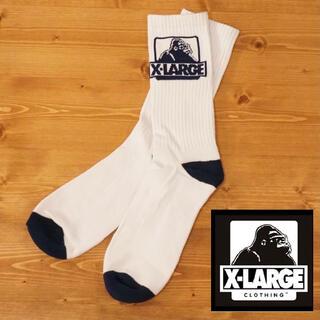 XLARGE - X-LARGE ロゴ ソックス 靴下  エクストララージ ホワイト ネイビー