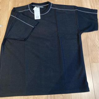 ナノユニバース(nano・universe)のカラーステッチワッフルワイドTシャツ ナノユニバース カットソー  ブラック M(Tシャツ/カットソー(半袖/袖なし))