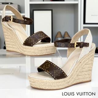 LOUIS VUITTON - 3055 美品 ヴィトン コーストライン モノグラム ウェッジサンダル