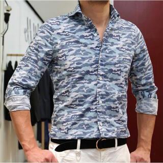バルバ(BARBA)のフィナモレ finamore  カモフラシャツ 長袖シャツ 39 ブルー系(シャツ)