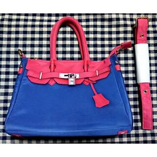 2wayハンドバッグ ショルダーバッグ 鞄 かばん ネイビー ピンク(ショルダーバッグ)