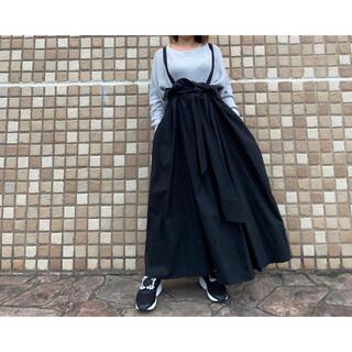 ダブルスタンダードクロージング(DOUBLE STANDARD CLOTHING)のダブルスタンダード 肩紐付きロングスカートブラックA42(ロングスカート)