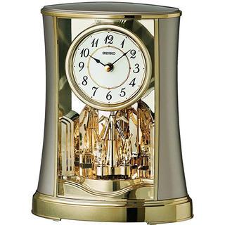 SEIKO - SEIKO BY428G 置き時計アナログ 回転飾り付き 薄金色