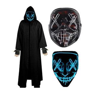 ハロウィン 仮装 マスク LEDマスク ブルー(衣装一式)