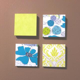 インテリアパネル ピスタチオグリーン ブルー 花柄 北欧 壁飾り ファブリック(ウェルカムボード)