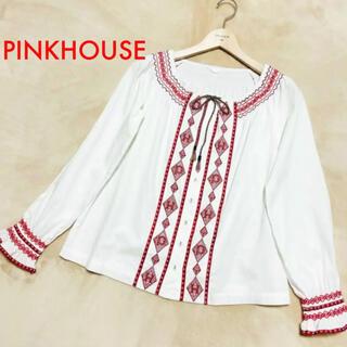 ピンクハウス(PINK HOUSE)の美品 ピンクハウス PINKHOUSE 刺繍が可愛い チュニック ブラウス(シャツ/ブラウス(長袖/七分))