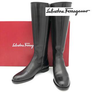 Ferragamo - 【美品】Ferragamo フェラガモ レザー ロングブーツ 黒 21cm