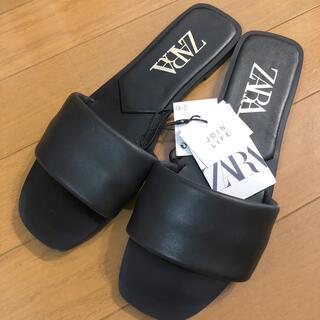 ZARA - ZARA リアルレザーフラットサンダル 本革 ブラック38 新品タグ付きACNE