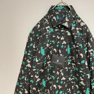 ランバン(LANVIN)の【定価6.6万】 LANVIN ランバン ドレスシャツ 長袖 総柄 ブラック(シャツ)