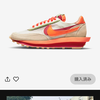 ナイキ(NIKE)のNIKE sacai LDワッフル CLOTオレンジ 27.0(スニーカー)