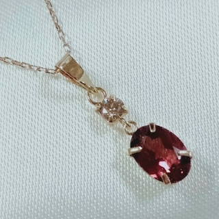 新品K18イエローゴールド天然石ピンクガーネット、ダイヤモンドトップ 1番(チャーム)